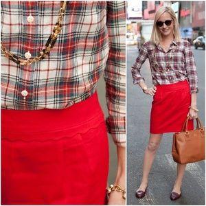 j. crew // scallop trim waist red wool mini skirt